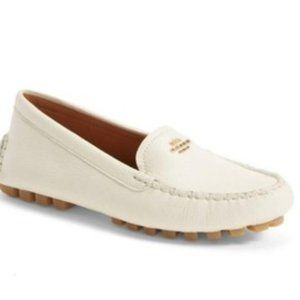 Coach Chalk Amber Pebbled Leather Driving Loafers